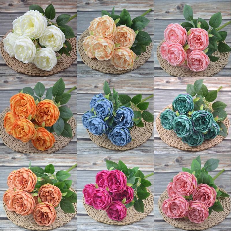 Soie artificielle pivoine fleurs bouquets 7 têtes cœurs cœurs peonys mariage maison décoration blanc champagne bleu rose aha4651