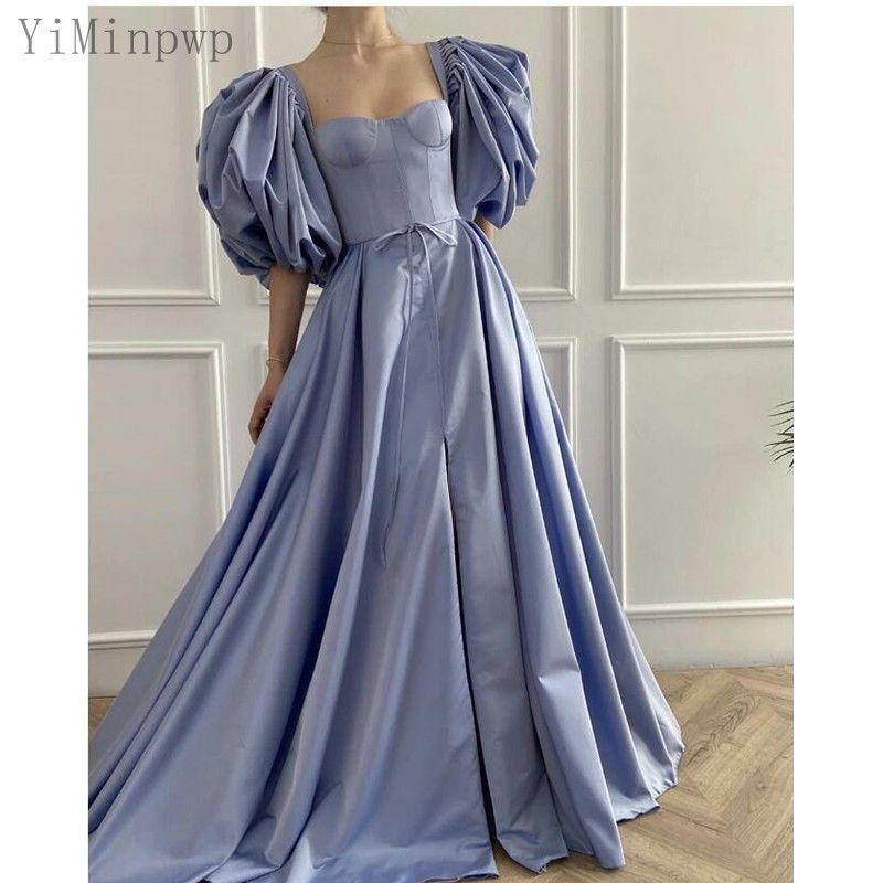2021 Lavender Prom Dresses for Women Puff Sleeve Front Split Floor Length A Line Belt Evening Party Gowns vestidos de fiesta Plus Size