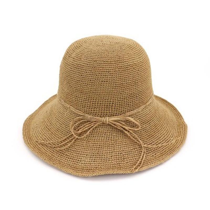 bucket hats women summer dome big brim straw handmade women hats bowknot outdoor beach sun protection khaki pink sun bucket hats