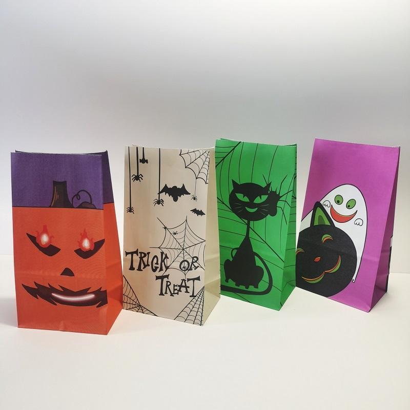Хэллоуин конфета сумка оберточная упаковка милый призрак тыква паук паук бумага бумага пищевые подарочные сумки Halloween Party Favors