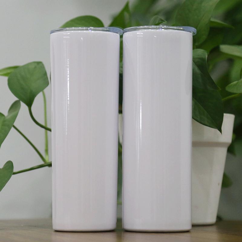 20oz sublimação direto tumblers magros em branco branco slim slim canecas 20 oz vácuo isolado de parede dupla manter copos legais
