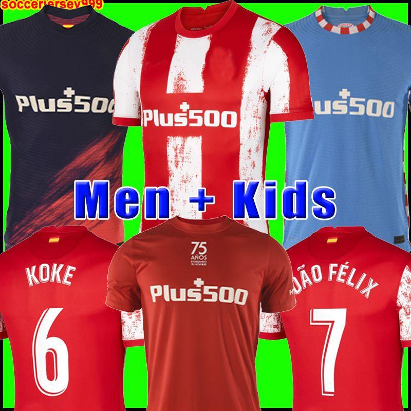 Atletico de madrid Soccer Jersey 2021 João Félix 20 21 M. Llorente Koke Saul Godin Diego Costa Camiseta Camicie da calcio Uniformi Men + Kid Kit Kit