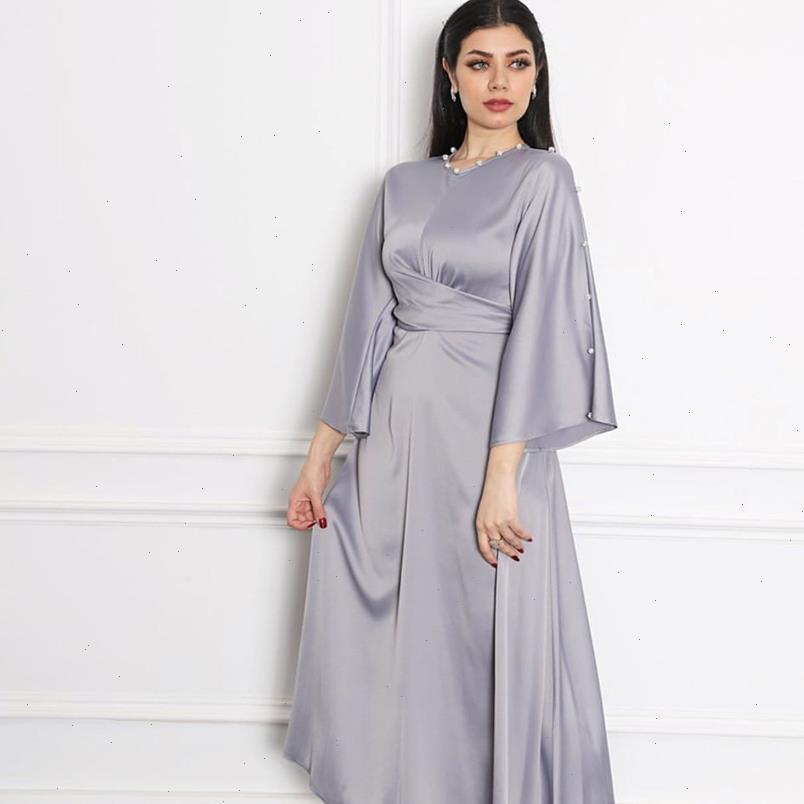 Weiche Frauen Kleid Satin Maxi für Grau Dubai Arabisch Qualität Kaftan Abayas Mode Muslim Selbstgriffer Robe Fall