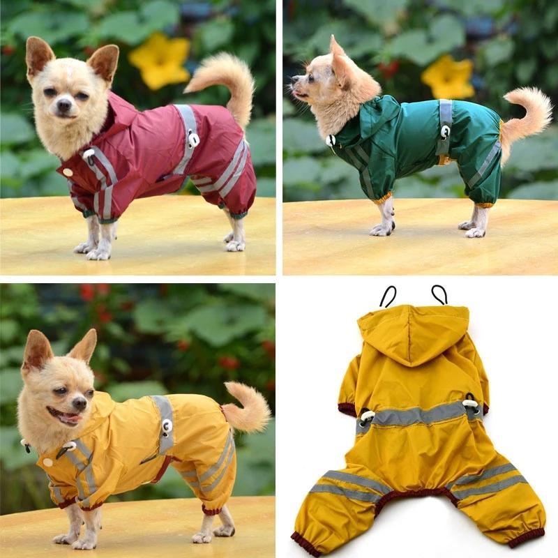 الكلب الملابس الحيوانات الأليفة الملابس ماء خفيفة المعطف سترة المطر المعطف مع الشريط عاكس في الهواء الطلق جرو الحيوانات الأليفة معطف المطر