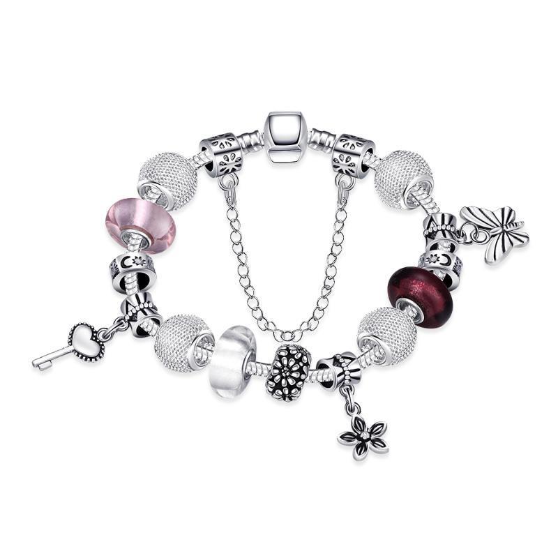 Античный серебристый браслет очарования браслет с любовным замком и цветочными бусинами женские свадебные украшения 2021 браслеты