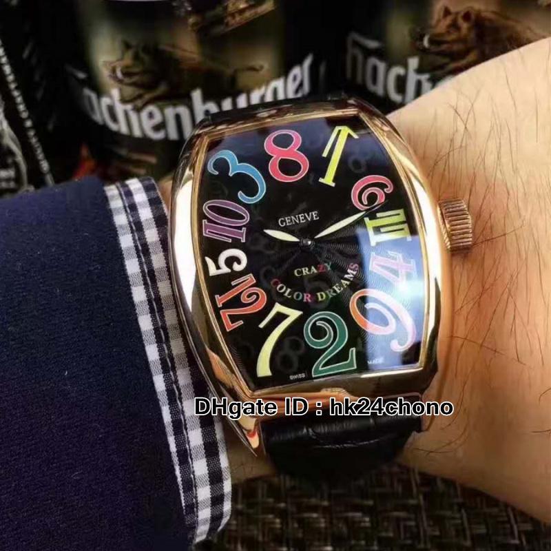 Horas locas de alta calidad 8880 CH Reloj automático para hombres Rosa Caja de oro Número de color Mark Negro Correa de cuero Gents Relojes deportivos 10 colores