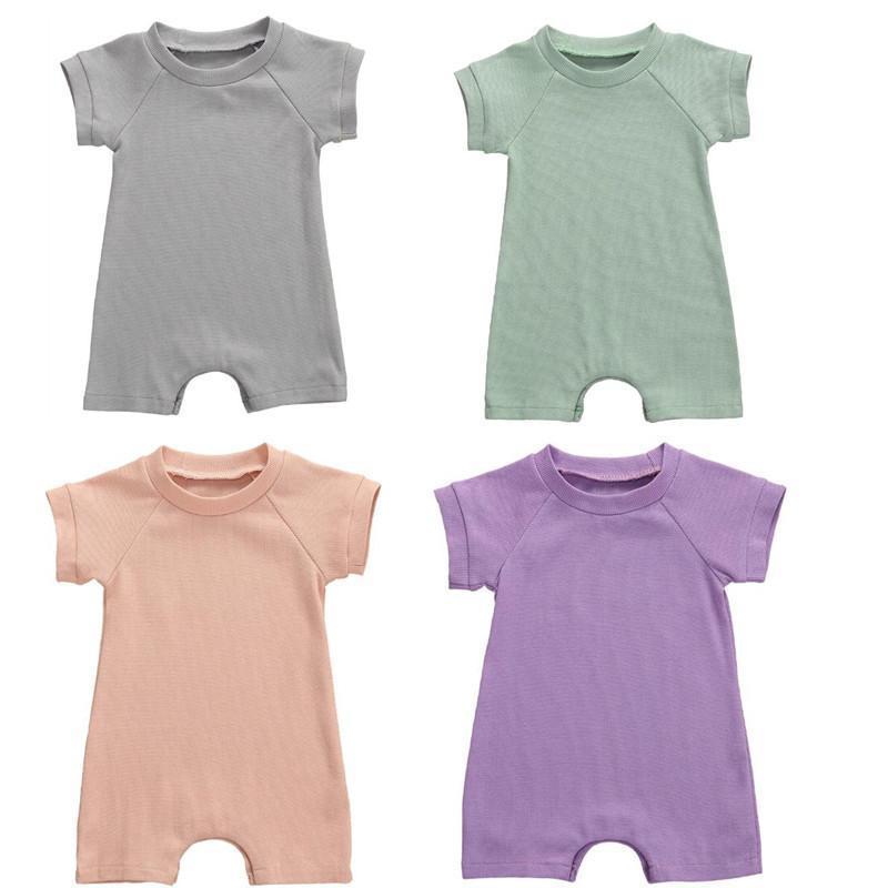 0-18m Sommer Säuglingsbaby Jungs Kleidung Mädchen Massiv Ripped Strampler Mädchen Jumpsuit Geborene Shorts KurzhülleOutfit Jumpsuits