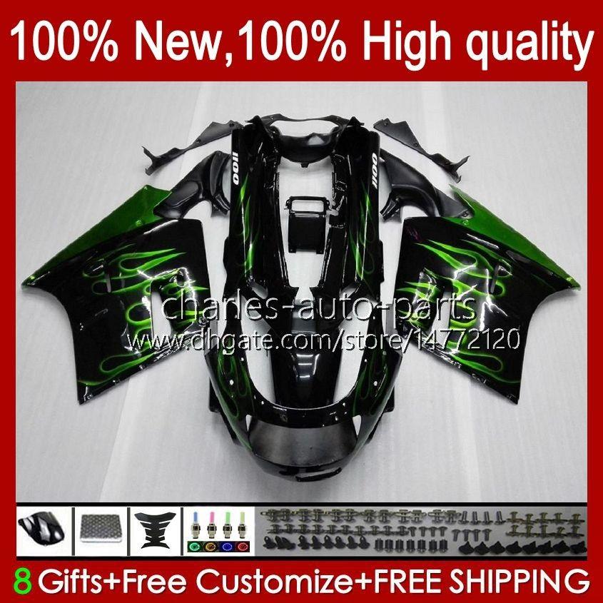 Kropp för Kawasaki Ninja ZX-11 R ZZR-1100 ZX-11R ZX11R 90 91 92 93 94 95 30HC.54 Gröna flammor ZZR 1100 CC ZX 11 R 11R ZX11 R ZZR1100 1996 1997 1998 1999 2000 2001 Fairing Kit