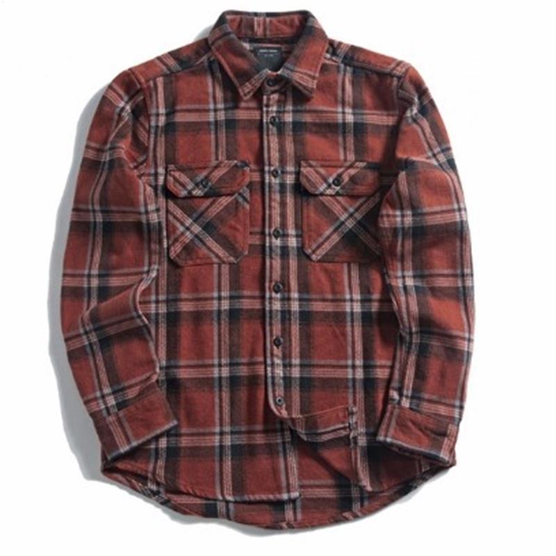 셔츠 남성 옐로우 블랙 격자 무늬 닦 았을 긴 소매 셔츠 포켓 봄 캐주얼 남자
