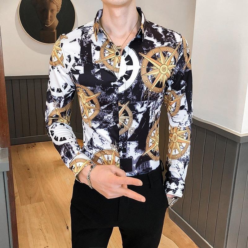 가을 남자의 민족 스타일 바닥 슬림 디지털 나이트 클럽 인치 캐주얼 셔츠를하는 긴팔 셔츠 인쇄