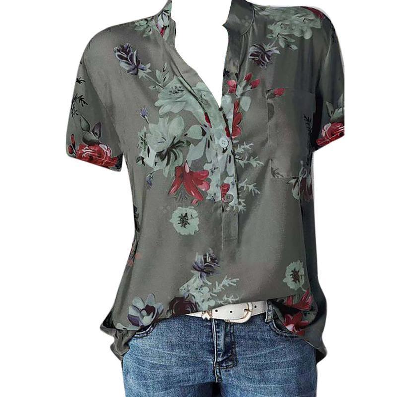 Camicia da donna vintage Donne da donna Pocket Plus Size Slitta manica corta Camicetta facile Top Blusas Mujer de Moda 2021 Camicette Camicette