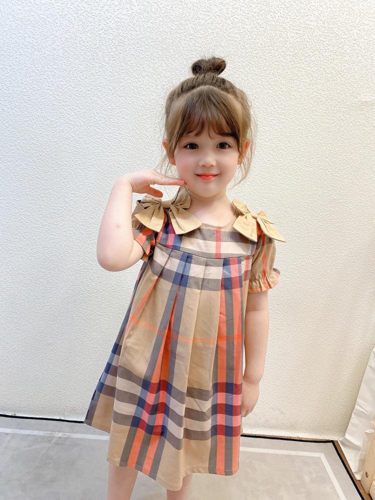 Роскошная девочка Princess платье Детская сетка двойной лук лето с коротким рукавом дети повседневные дизайнерские одежды