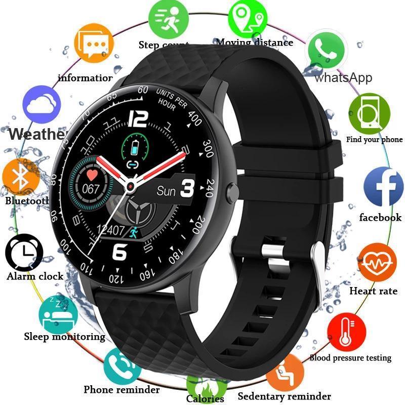 Full Touch Smart Watch Мужчины Артериальное давление IP68 Водонепроницаемый SmartWatch Fitness Tracker Часы Женщины для Android iOS