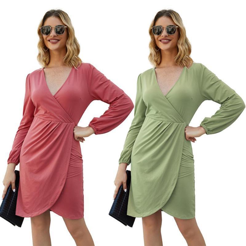 Robes décontractées printemps européen et américain automne de haute qualité satin de luxe robe de mode de luxe à manches longues en V