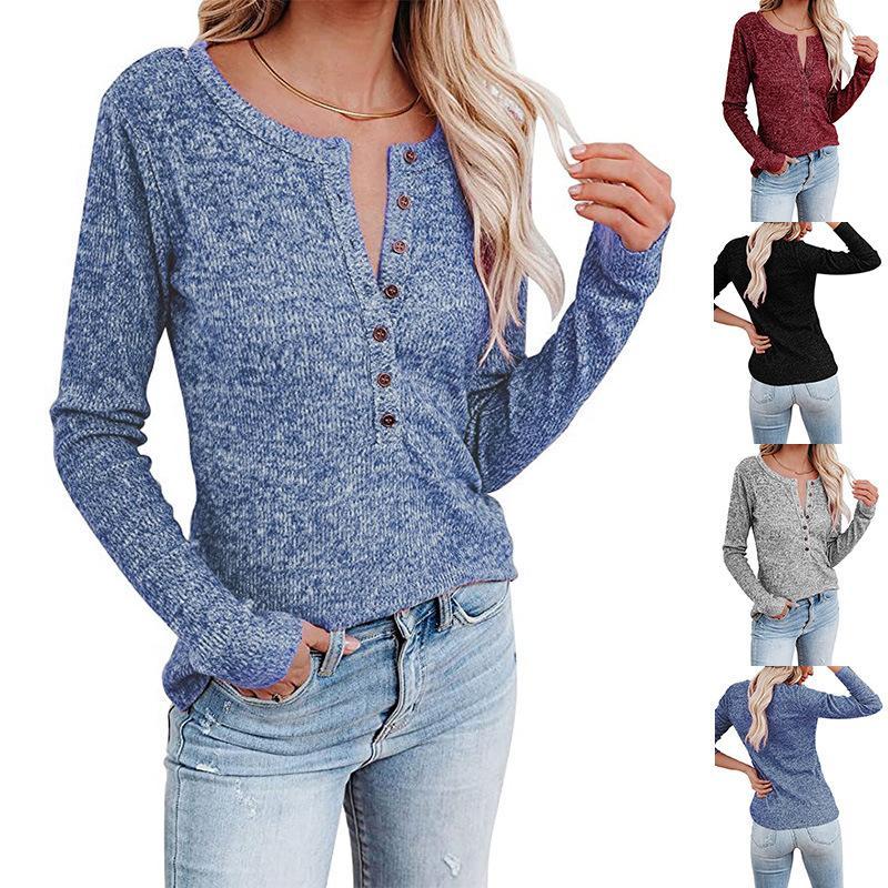 Camisetas de manga larga Tops de manga larga Camisetas Camisetas Casual suelto o-cuello Blusa Moda EUROPEO Y América Ropa CGY242