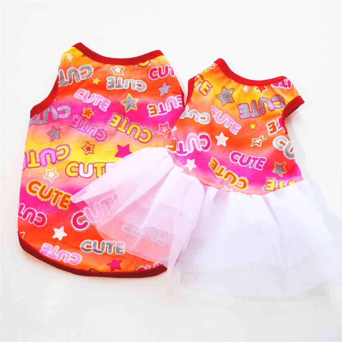 Vestido de perro de verano Ropa para mascotas para pequeña falda de boda Puppy Ropa Primavera moda algodón xs-l