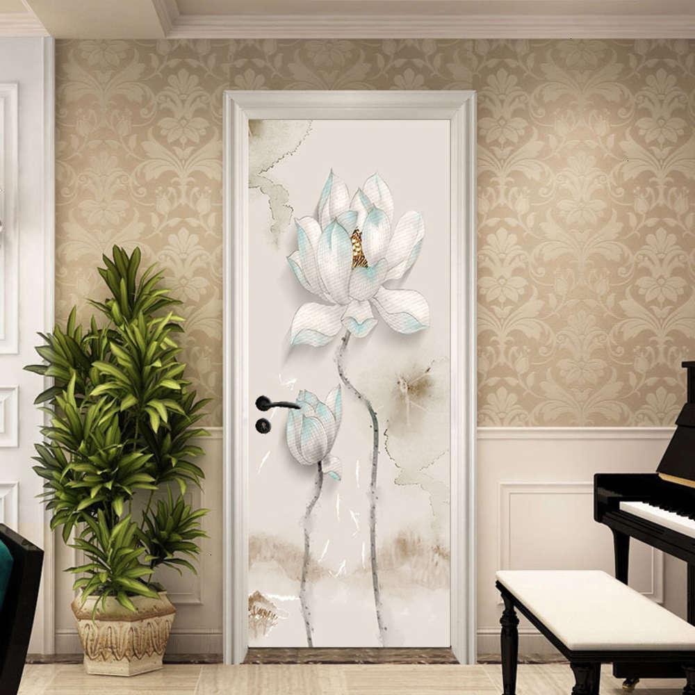 Etiquetas estilo peixe pasta de porta chine lótus quarto sala de estar decorativo pintura à prova d 'água auto adesão removível adesivo de parede pvc mt040