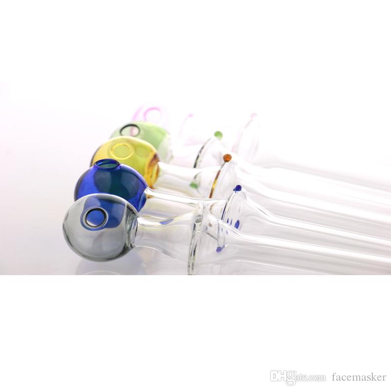 Sigara tüpü el sanatları pyrex cam yağ yakıcı boru mini sigara el borular üç nokta ile renkli