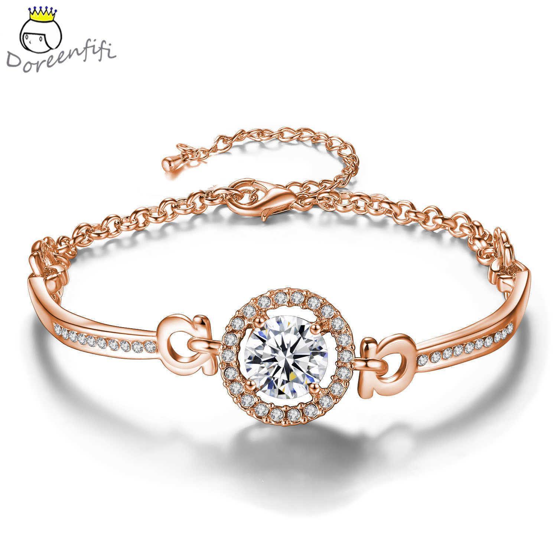 Moda 925 pulseiras de tênis de prata esterlina pulseiras incrustadas branco zircônia cúbica jóias para mulheres cor de ouro rosa