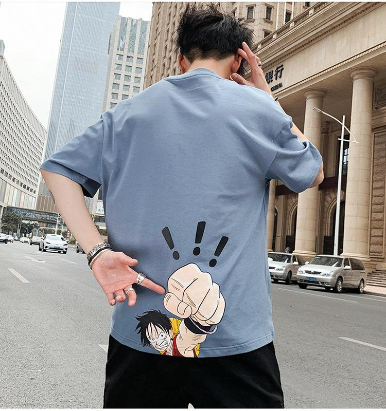Мужские футболки Аниме Летняя мода Печатная рубашка Один кусок Повседневная Футболка Круглая Шея Мужской Хлопок