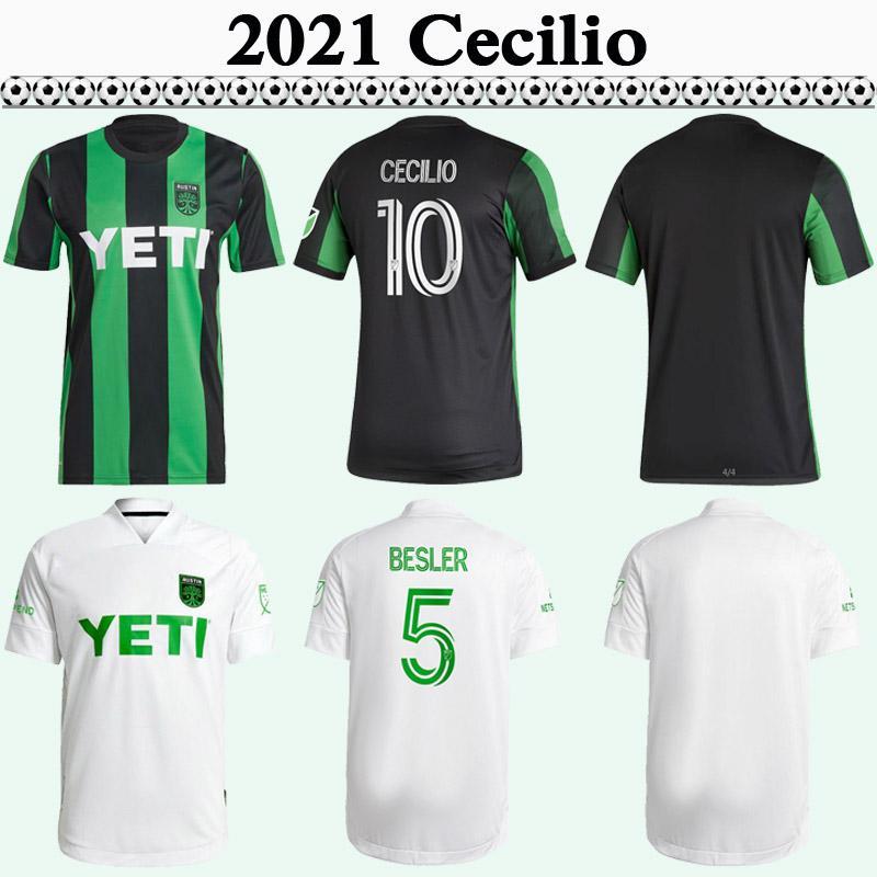 2021 Austin Club Pochettino Ring Hommes Soccer Jerseys Cecilio Besler Home Away Black Green Blanc Football Shirts Vêtements pour adultes