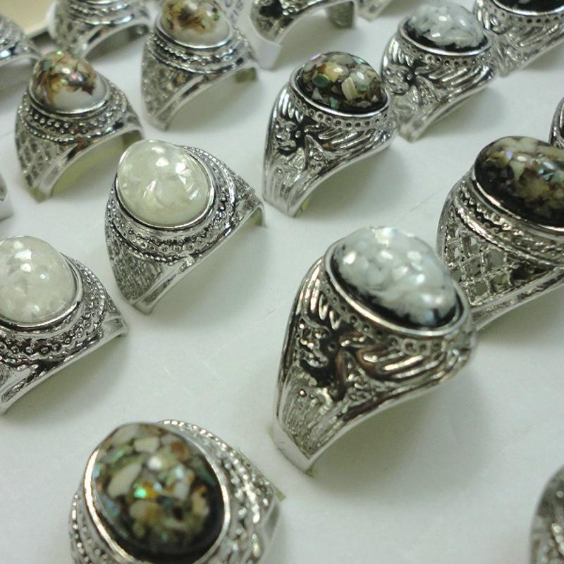 Plateado Plata Lujo Amber Opal Man Anillo Joyería Anillo Vintage Colorido Natural Stone Center Anillos Antiguos Anillos de piedras preciosas de plata 1053 Q2