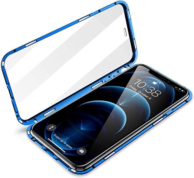 Magnetisk Adsorption Metal Frame Fodral Fram och Back Temperad Glas Fullskärm Täckning för iPhone 12 Pro Max Support Trådlös Laddning 50st / Lot