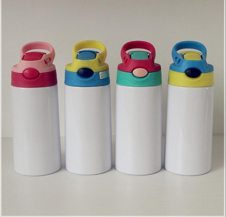 12oz Sublimação Copo Sippy Crianças Garrafa de Água Tumblers 350ml Em branco Portátil Portátil Aço Inoxidável Vácuo Isolado Beber Copo para Crianças