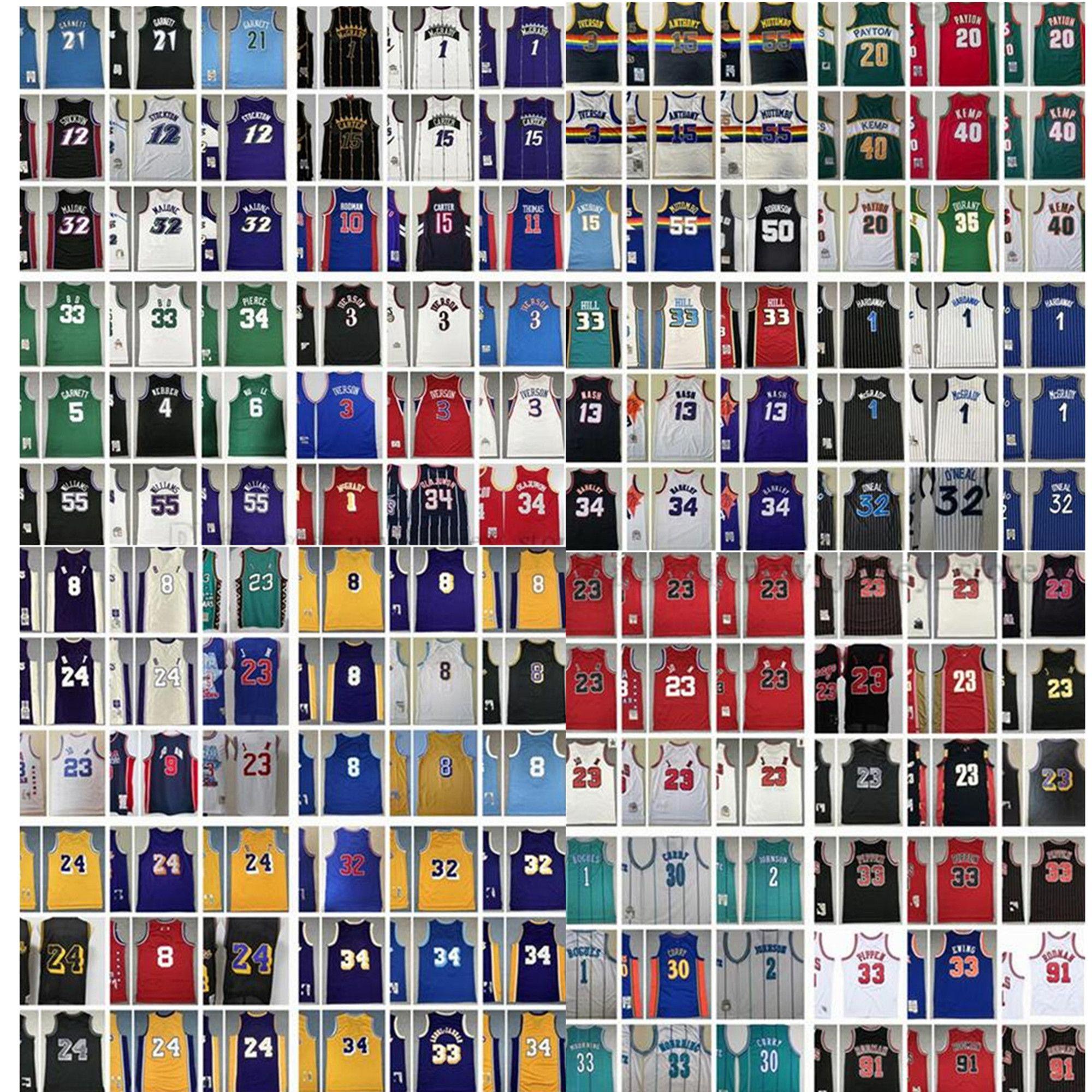 Mitchell et Ness Retro Michael Michael Couts Basketball Jerseys Iverson Pippen Rodman McGrady Garnett Malone Mutombo Bibby Bibby Bikton Kemp Payton Barkley Nash Jersey