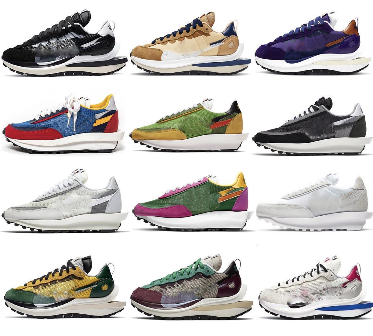 2021 YAYIN Otantik SACAI Vaporwafle 2.0 SESAME LDV Ayakkabı LDWaffle Siyah Beyaz Yeşil Mavi Kırmızı Eğitmenler Erkekler Kadınlar Açık Spor Sneakers ile Orijinal Kutusu