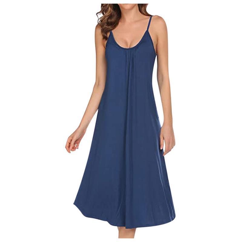 여성 드레스 우아한 솔리드 컬러 느슨한 민소매 긴 파자마 홈 서비스 무릎 길이 얇은 얇은 스트랩 파티 나이트 드레스 Vestidos 캐주얼 드레스