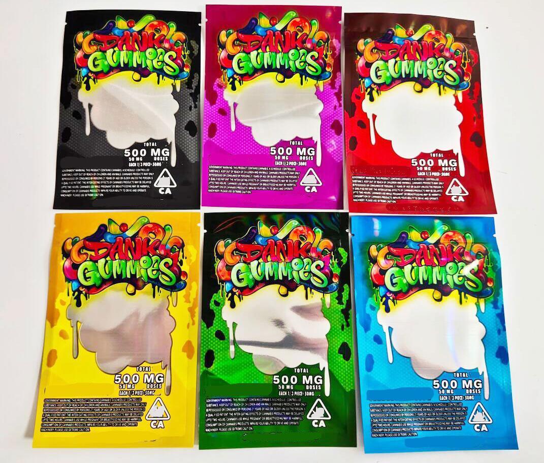 Özel Dank Gummies Mylar Çanta Ambalaj 500mg Toplam 710 Edices Paketi Kırmızı Yeşil Mavi Mor Renkler Trrlli Trolli Errlli