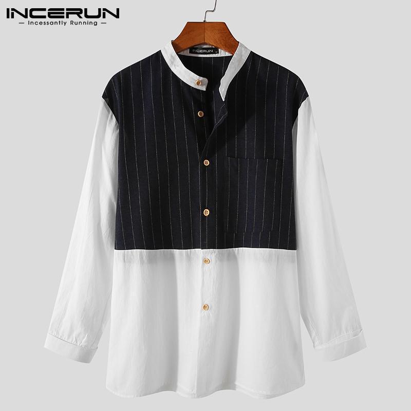 Retalhos do vintage homens camisas estilo chinês manga comprida carrinho colar camisa homem lazer botões de algodão blusa s-5xl homens casuais
