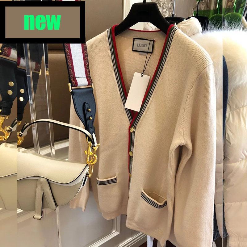 Mujeres de manga larga del suéter de la manga larga con el cuello en V, cradigan abrigos geométricos top lady t shirt de alta calidad suéter otoño moda al aire libre calle callejero