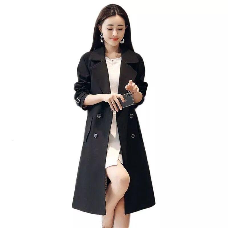 봄 가을 영국 여성 더블 브레스트 트렌치 방수 우아한 빈티지 클래식 긴 코트 의류 플러스 사이즈 4XL 여성용 코트