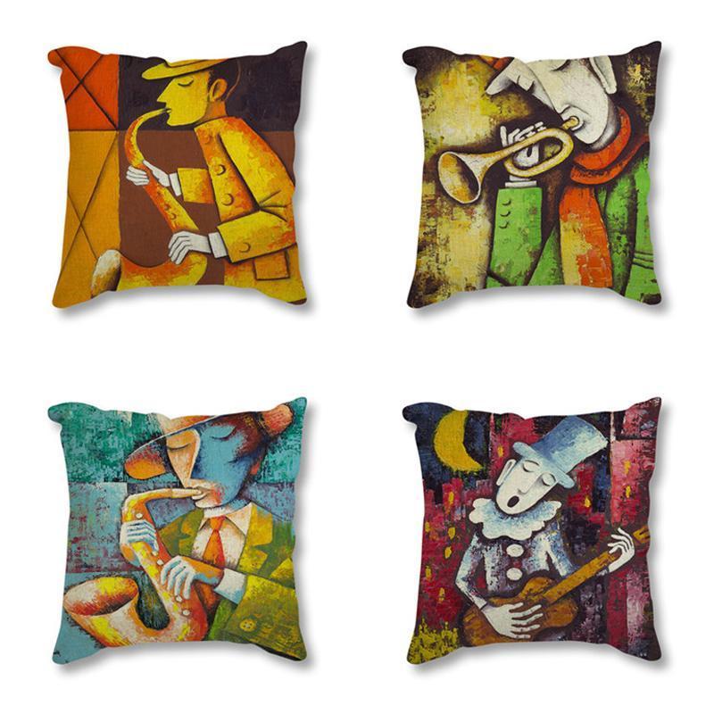 Ретро льняное сиденье подушка подушки винтажный музыкант SAX виолончели нефтяные картины печать декоративные для дивана бросить подушку корпус / декоративный