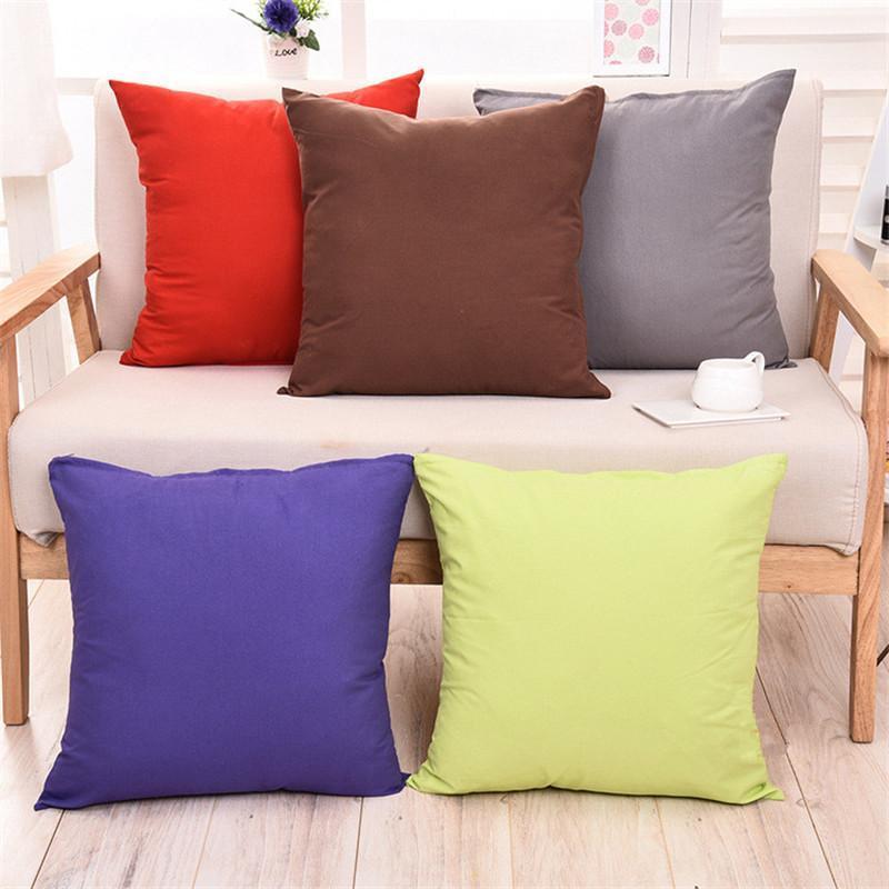 2021 Candy Color Plain Throw Pillow Case Cushion Without Core 45*45CM