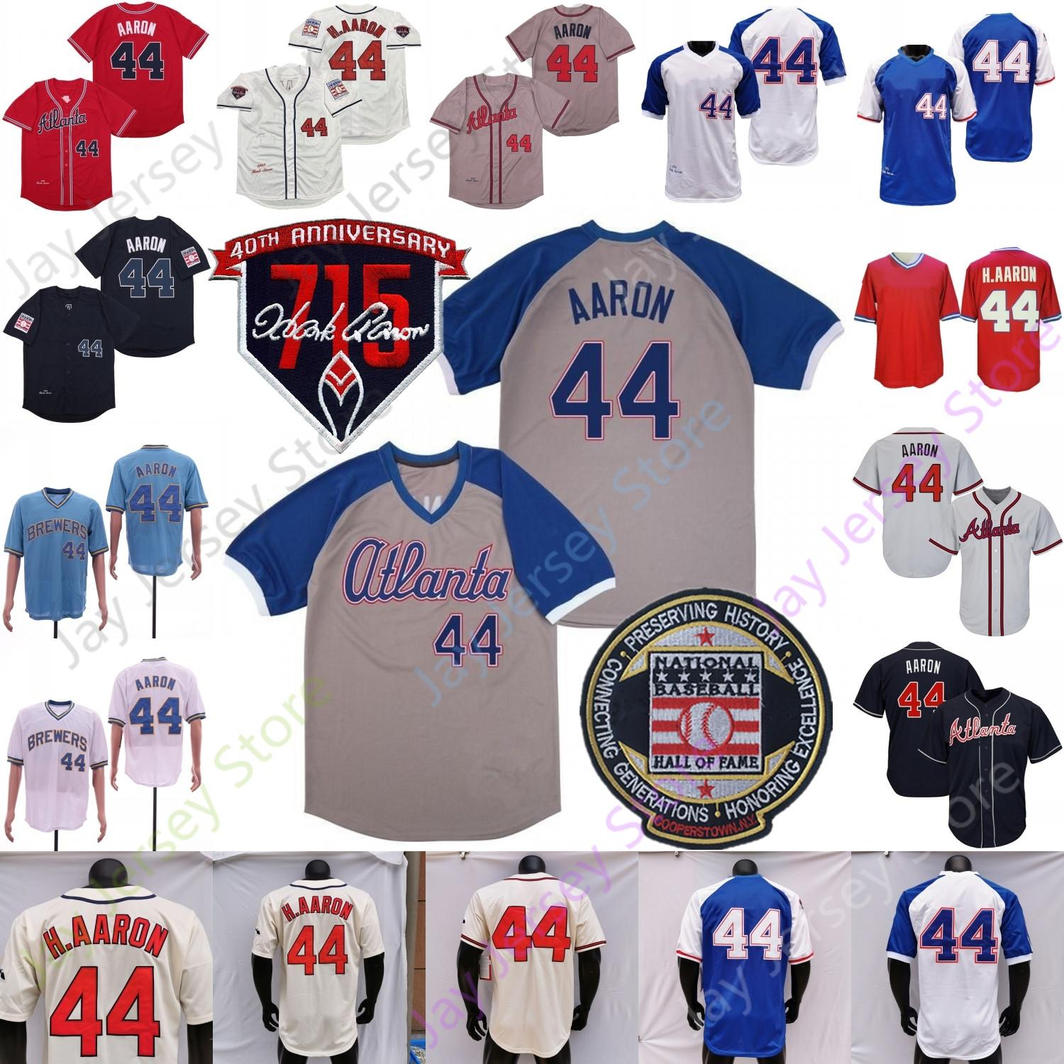 Hank Aaron Jersey Retro Baseball 1963 1974 Hall of Fame 715 Patch Zipper Pullover Button Home Away Bianco Red Cream Blue