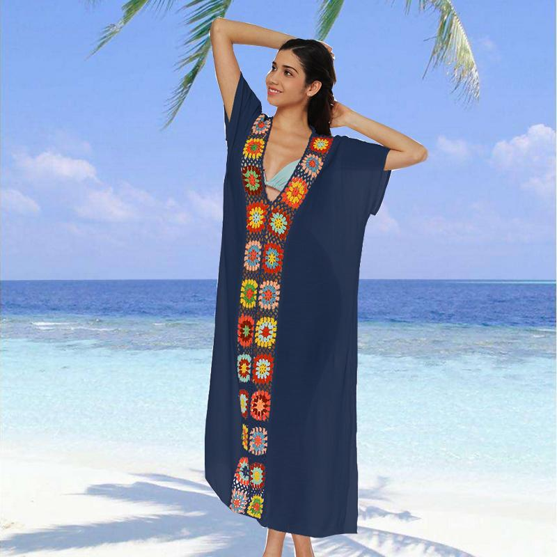 Donne sexy Cover Up Floral Hallow Out Summer Long Maxi Dress Serata Cocktail Party Beach Sundress Swimwear da donna