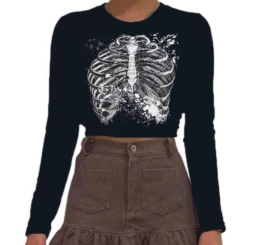 Designer di lusso Autunno Nuovo Sternum Contrasto Stampa Tipica Casual Top Round Neck Manica lunga Tshirt Donne Vestiti di moda