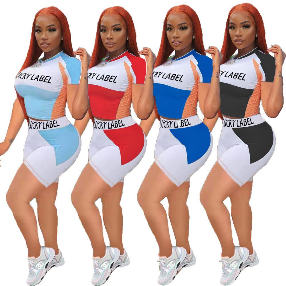 Frauen Mode Kleidung Brief Farbe Block Mädchen Gedruckt Top Kurzarm Shorts Sport Trainingsanzüge Anzug Jogging Anzüge Zwei Stücke Kleid