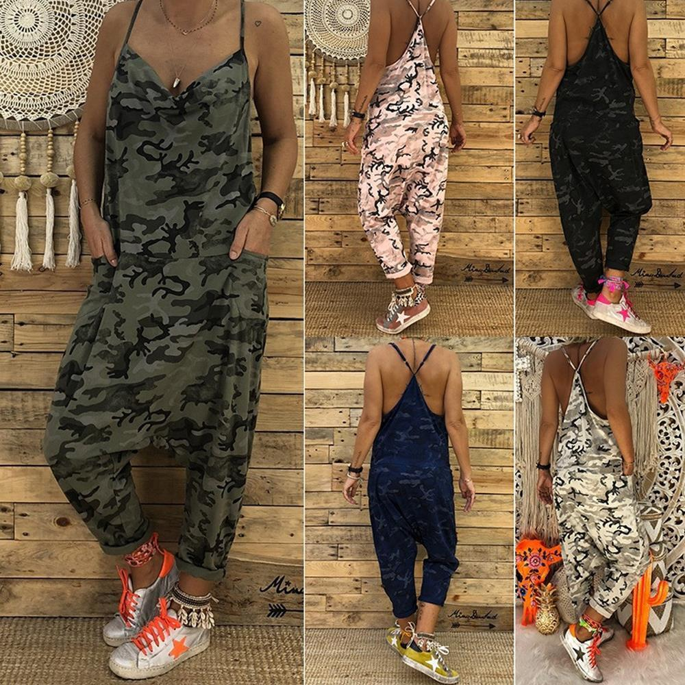 Camo Printed Clubwear Playsuit Bodysuit Womens Jumpsuits Party Camouflage Strap Pocket Harem Long Trousers Loose Overalls