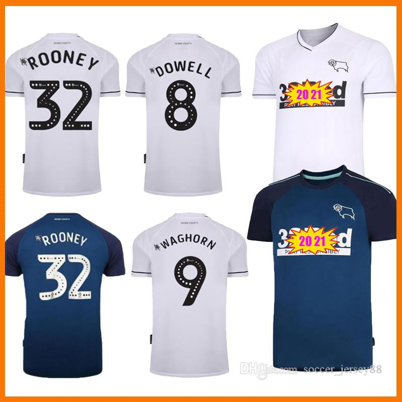 20 21 Derby County Soccer Jerseys 32 Rooney Away 2021 Home Camisa de Futebol Marriott Lawrence Waghorn Kit Maillots Camiseta Football Hemden