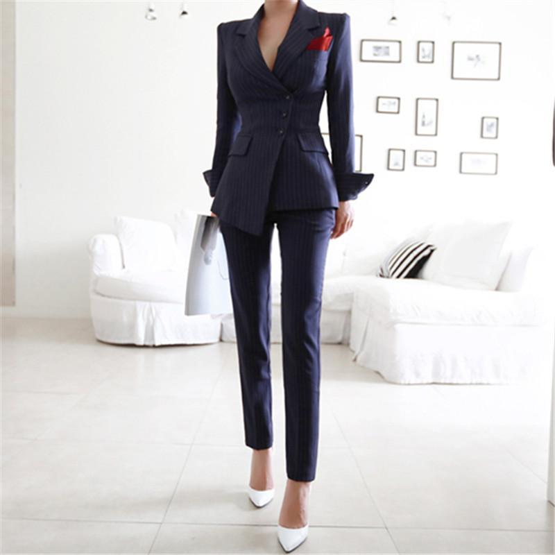Pant Suits 2 Piece Sets Striped Blazer Jacket &Trousers For Women Office Lady Outfits Spring Business Formal Work Wear Uniform Women's Track