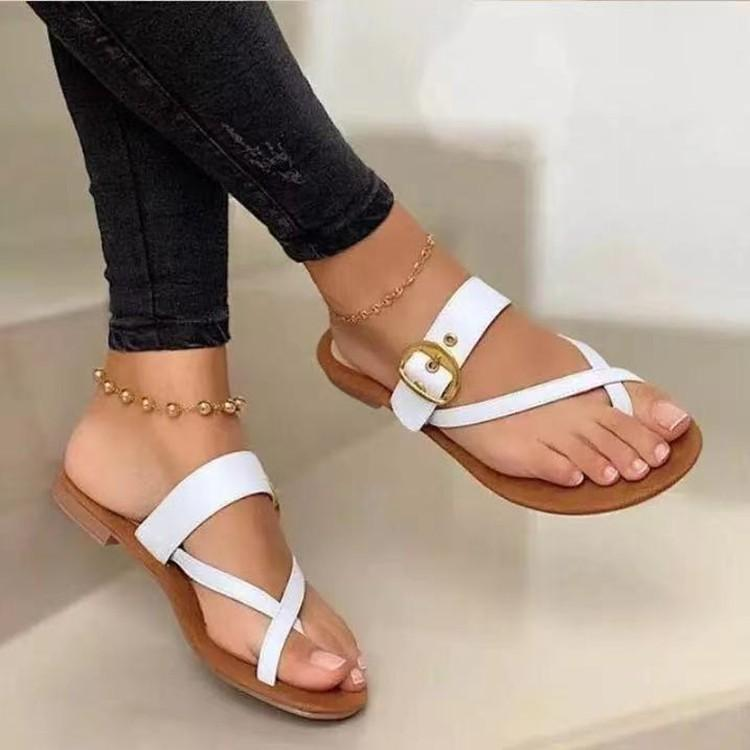 Summer Retro Mujer zapatillas Hebilla Flip Toe Flat Sin deslizamiento Suela de goma al aire libre Casual elegante Ladies Flop Beach zapatos femeninos