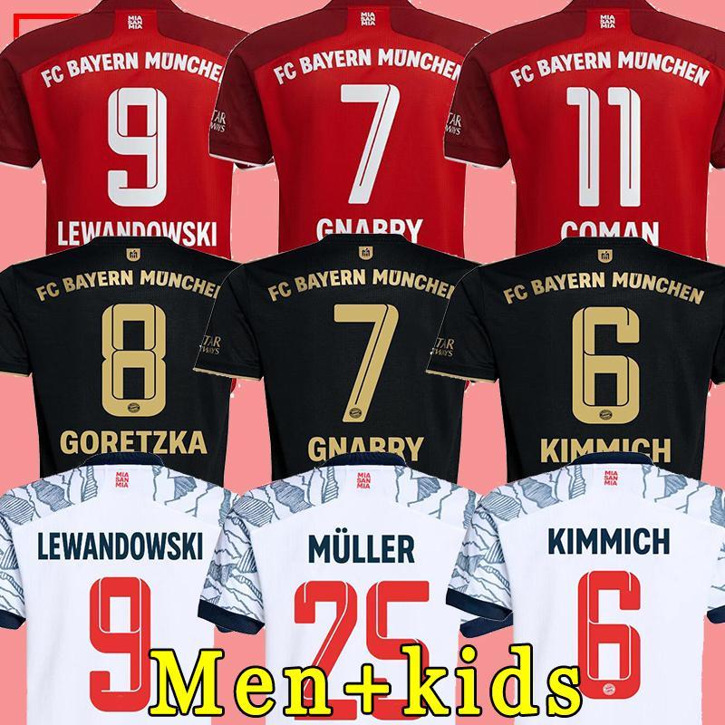 바이에른 축구 유니폼 21 22 Lewandowski Sane Munich Kimmich Coman Muller Davies 축구 셔츠 남성 키트 키트 2021 Top Thailand 품질 유니폼 세트