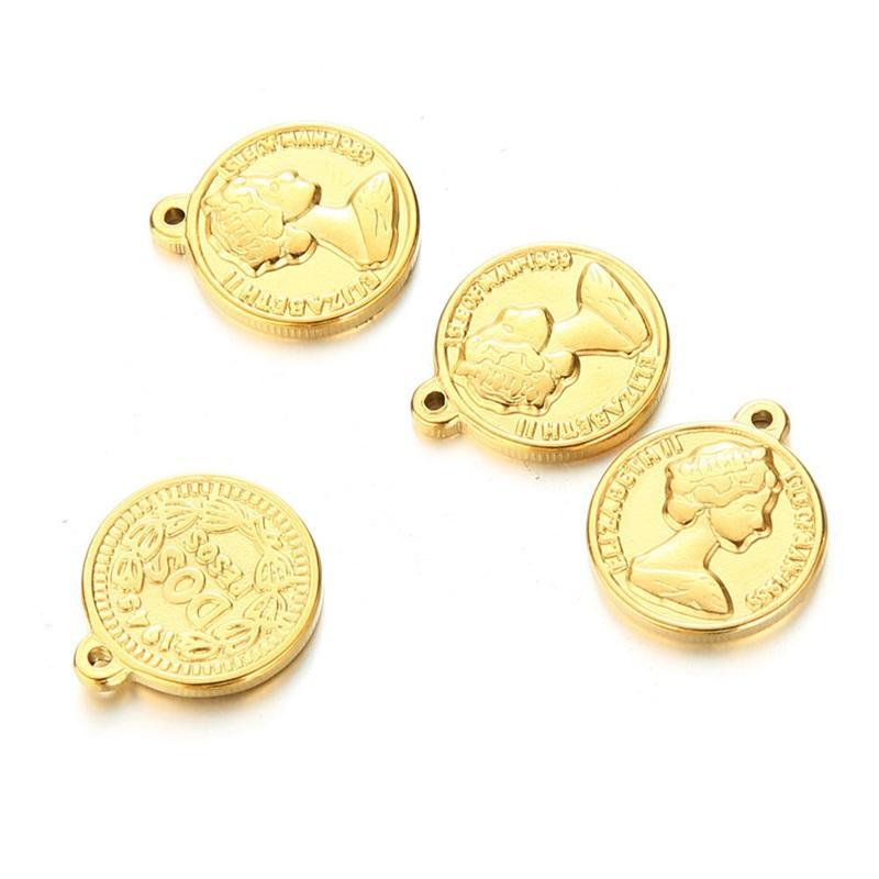 Semitree 5PCS الفولاذ المقاوم للصدأ الملكة سحر قلادة diy قلادة النتائج مجوهرات سوار سحر صنع الحرف اليدوية الملحقات 1478 v2