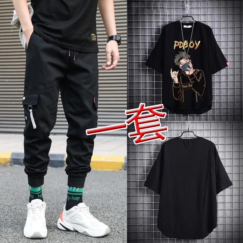 Zwei Teiler Anzug Fußball Trendy Sommer Hübsch Einsatz Hip Hop Kleidung Herren Lose Kurzarm T-Shirt Ins Arbeitskleidung Hosen