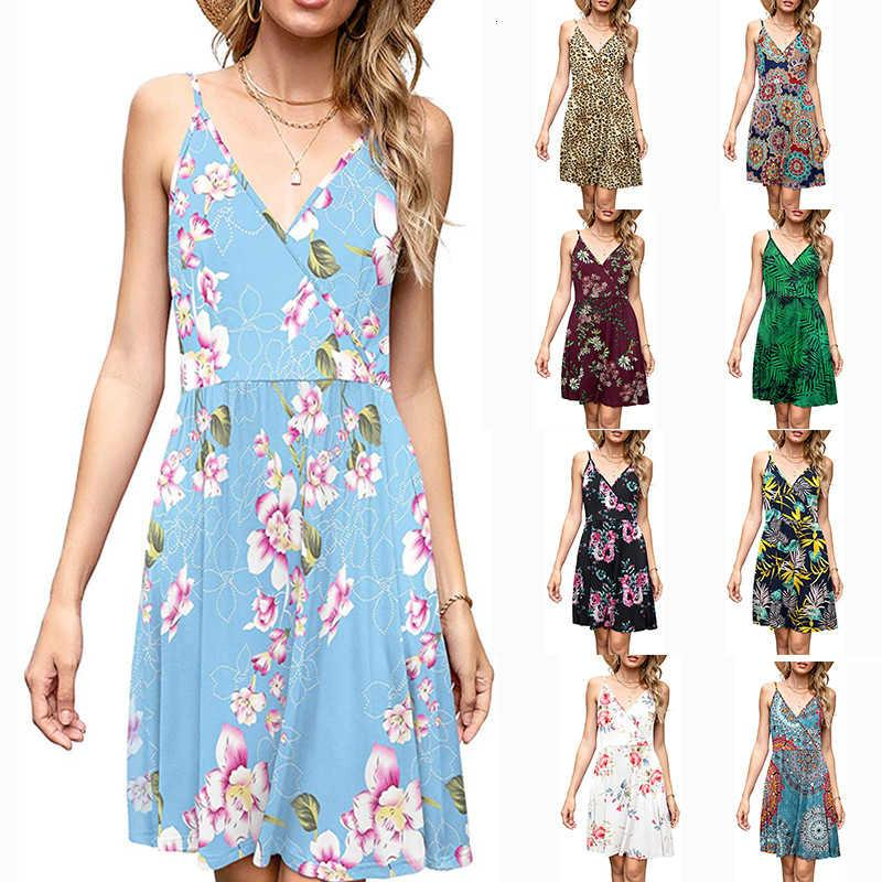 2021 Vestidos casuales de primavera Impresión de flores de verano Tuspillo sin mangas con cuello en V