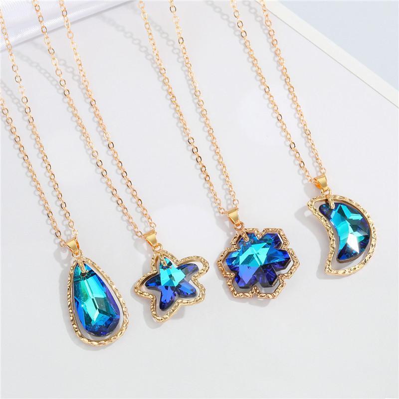 Collares colgantes 1pc Star Moon Waterdrop AB Colorido collar de cristal para las mujeres Joyas de boda Brillante azul Zircon Cadena de copo de nieve N216